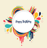 Happy Birthday card with color splashes Royalty Free Stock Photo