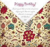 Happy Birthday card with colorful floral pattern Royalty Free Stock Images