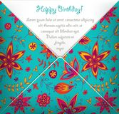 Happy Birthday card with colorful floral pattern. Vector illustration Royalty Free Stock Image