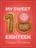 Happy Birthday card. Cookie sweet numbers my sweet eighteen. Vector illustration royalty free illustration