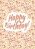 Happy birthday card cover with red, yellow and orange stars Royalty Free Stock Photography