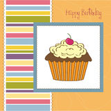 Happy Birthday card with cupcake Royalty Free Stock Photo