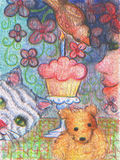 Happy Birthday card Cupcake Celebration with friends cat, teddy bear and bird  oil painting Stock Images