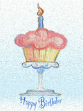 Happy Birthday card Cupcake Celebration  oil painting. Happy Birthday Cupcake with a candle on a pedestal dish textured oil  colorful birthday card Stock Photography