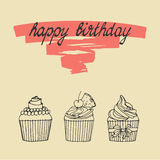 Happy birthday card with cupcake Royalty Free Stock Images