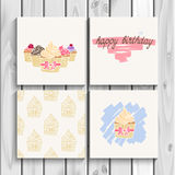 Happy birthday card with cupcake, hand drawn Royalty Free Stock Image