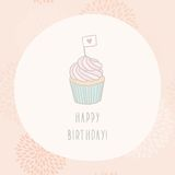 Happy Birthday card with cupcake. Vector EPS 10 hand drawn illustration card template Stock Photo