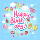 Happy Birthday card with cupcakes and balloons. Stock Images