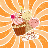 Happy birthday. Card with cupcakes and candles and ice cream.Background with orange rays Stock Image