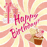 Happy birthday. Card with cupcakes and candles and ice cream.Background with orange rays and gift boxes Royalty Free Stock Images