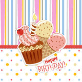 Happy birthday. Card with cupcakes and candles and ice cream.Striped background and polka dots Stock Photo
