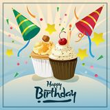 Happy birthday card with cupcakes. Additional in eps 10 file Stock Photography