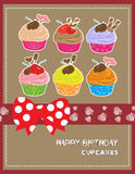 Happy Birthday card with cupcakes Royalty Free Stock Photo