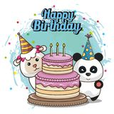 Happy birthday card with cute animals. Vector illustration design royalty free illustration