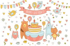 Happy Birthday card with cute animals near holiday cake with candle. Bear, rabbit, kitten owl and other birds. Line art stock illustration