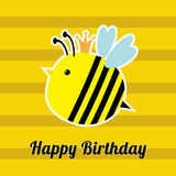 Happy Birthday card with cute bee insect. Baby background Flat design Royalty Free Stock Photo