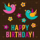 Happy Birthday Card with cute birds Royalty Free Stock Image