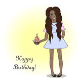 Happy birthday! card with Cute black woman Stock Photo