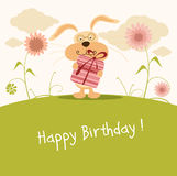 Happy birthday card, cute bunny Royalty Free Stock Photos