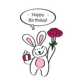 Happy Birthday! Card with a cute Bunny and a bouquet of roses Royalty Free Stock Image