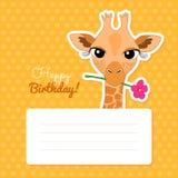 Happy Birthday Card with Cute Cartoon Giraffe Royalty Free Stock Photography