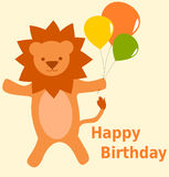Happy birthday card with cute cartoon lion with colorful balloons illustration Stock Photos