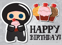 Happy birthday card with cute cartoon ninja. Character holding a cup cake Stock Images