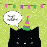 Happy birthday card with cute cat character. Greeting card. Desi Stock Photo