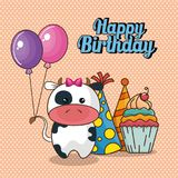 Happy birthday card with cute cow. Vector illustration design stock illustration