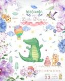 Happy birthday card with cute Croc Dandy Watercolor animal. Cute baby greeting card. Boho flowers and floral bouquets Happy. Birthday set. Watercolor greeting stock photo