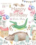 Happy birthday card with cute Croc Dandy Watercolor animal. Cute baby greeting card. Boho flowers and floral bouquets. Happy Birthday set. Watercolor greeting vector illustration