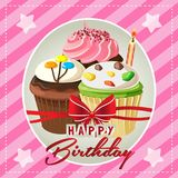 Happy birthday card with cute cupcakes. And stripes neon pink background Stock Images