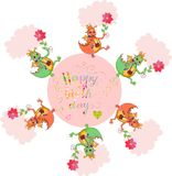 Happy birthday card with cute dragons and colorful lettering. Royalty Free Stock Images