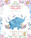 Happy birthday card with cute Elephant Watercolor animal. Cute baby greeting card. Boho flowers and floral bouquets Happy Birthday vector illustration