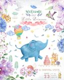 Happy birthday card with cute Elephant Watercolor animal. Cute baby greeting card. Boho flowers and floral bouquets Happy Birthday. Set. Watercolor greeting royalty free stock image