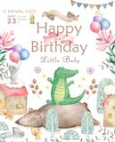 Happy birthday card with cute Elephant Watercolor animal. Cute baby greeting card. Boho flowers and floral bouquets. Happy Birthday set. Watercolor greeting royalty free illustration