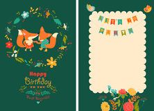 Happy birthday card with cute foxes in wreath Stock Images