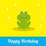Happy Birthday card with cute frog. Baby background Flat design Sparkles Stock Photography