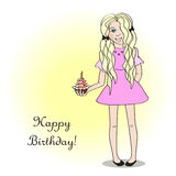 Happy birthday! card with Cute girl blonde. Which is holding a festive cupcake Royalty Free Stock Photo