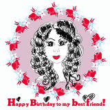 Happy Birthday Card with cute girl. Vector Stock Image