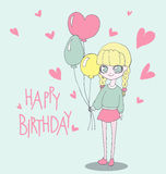Happy Birthday card with cute girl. Vector Illustration of a Girl Holding Birthday Balloons. Happy Birthday card with cute girl Vector Illustration of a Girl Stock Photography