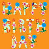 Happy birthday card, cute vector illustration Royalty Free Stock Image