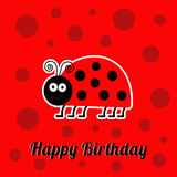 Happy Birthday card with cute lady bug ladybird insect. Baby background Flat design Stock Image