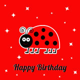 Happy Birthday card with cute lady bug ladybird insect. Baby background Sparkles Flat design Stock Photos