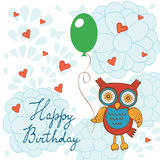 Happy birthday card with cute owl character Royalty Free Stock Photo