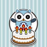 Happy birthday card with cute owl Royalty Free Stock Photography