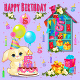 Happy birthday card with cute pet and toys. Cake, gift, flowers and candles stock illustration