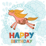 Happy birthday card with cute running horse Stock Image