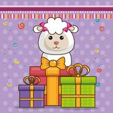 Happy birthday card with cute sheep. Vector illustration design vector illustration