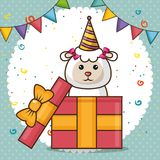 Happy birthday card with cute sheep. Vector illustration design stock illustration